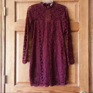 Elegant Dark Red Lace Long Sleeve Dress 4